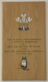 Plaque commemorating visit to Bromham by HRH The Prince of Wales